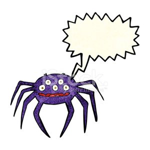 cartoon halloween spider with speech bubble
