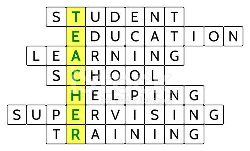 Crossword Puzzle For The Word Teacher And Related Words