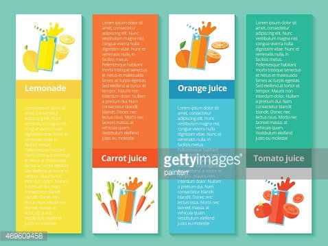 Fruit smoothies and juices. Banner element for cafe, restaurant drinks.