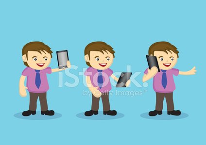 Cute Male Cartoon Character with Necktie and Wireless Digital Ta