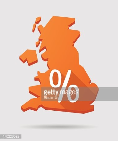 UK map icon with a discount sign