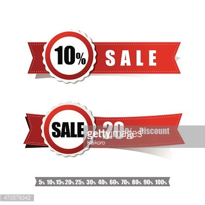 Sale tag banner red and ribbon element on white background