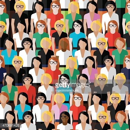 seamless pattern with a large group of well- dresses ladies