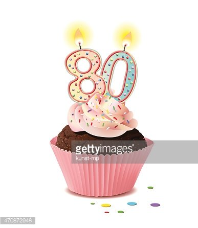 Birthday Cupcake With Candle Number 80 Premium Clipart Clipartlogo Com