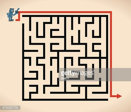 Businessman AT Entrance TO Maze, With Solution (easy Way
