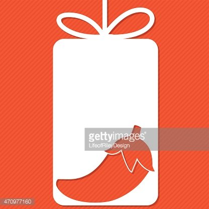 Chili Pepper cut out tag card in vector format.
