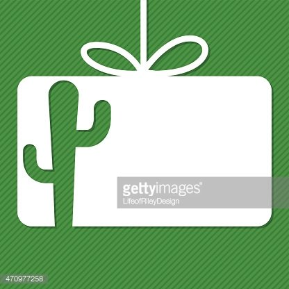 Cactus cut out tag card in vector format.