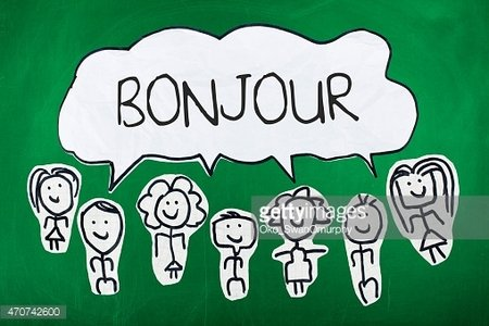 Hello In French Language French Word Bonjour In Speech Bubble Clipart Image