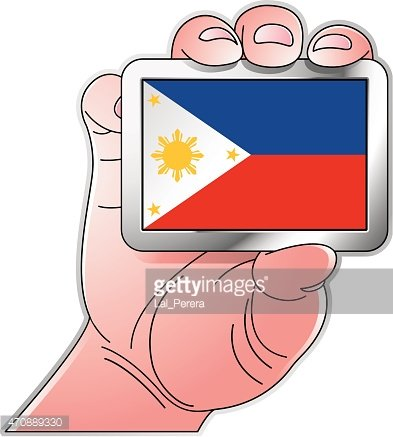 hand holding Philippines flag