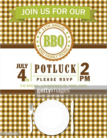 family picnic invitation template with checked tablecloth premium