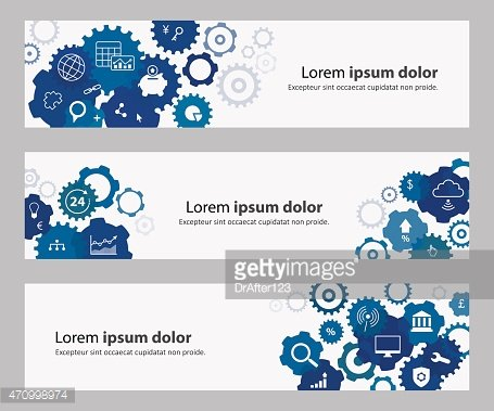 Banners With Blue Gears And Banking Online Icons
