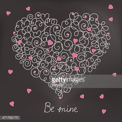 Greeting card with floral heart shape. Be mine sign
