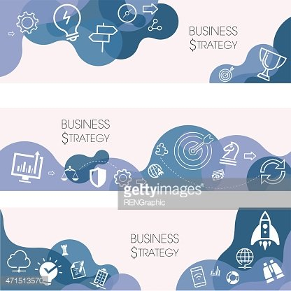 Business Strategy Banners And Relevant Icon Set