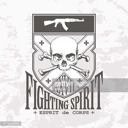 Emblem Fighting Spirit with the skull and an automatic rifle