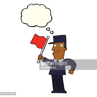 cartoon man waving flag with thought bubble