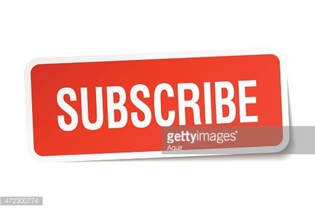 Subscribe red. Square sticker isolated on