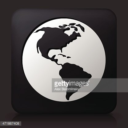Black Square Button with Planet Earth