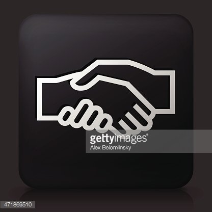 Black Square Button with Handshake