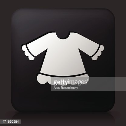 Black Square Button with Girl's Shirt
