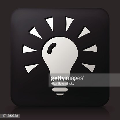 Black Square Button with Shining Light Bulb