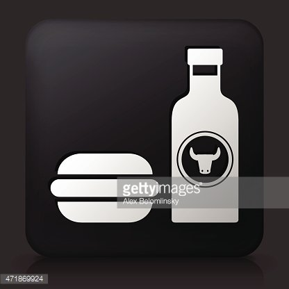 Black Square Button with Hamburger and Hot Sauce
