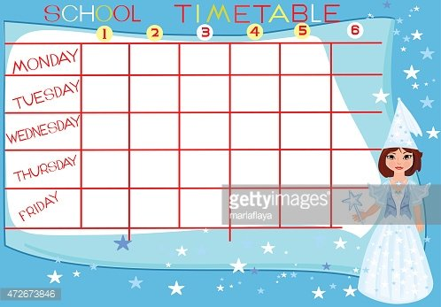 School timetable with fairy