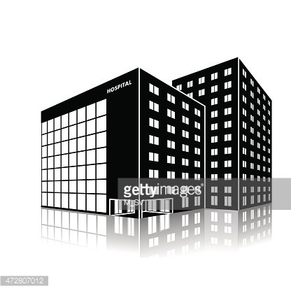 silhouette city hospital building with reflection