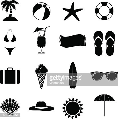 Summer Beach Black Vector Illustration Of Silhouette Icons