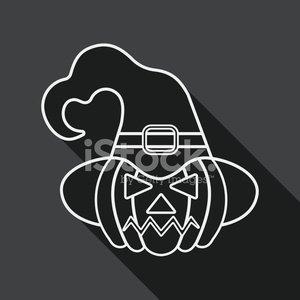 pumpkin flat icon with long shadow, line icon