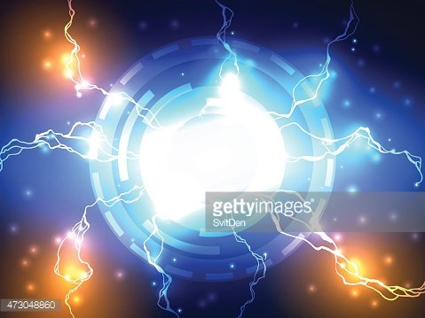 Abstract Blue Lightning Vector Science Background Clipart
