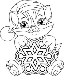 Kitten And Snowflake Coloring Page Clipart Image