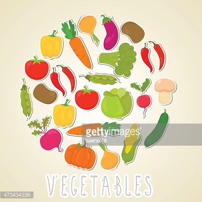 Vector color vegetables. Healthy lifestyle illustration