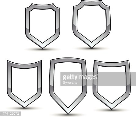 Set of heraldic vector emblem with silver outline, collection