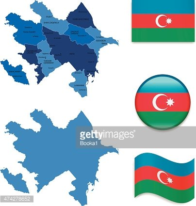 Azerbaijan Map And Flag Collection Clipart Image