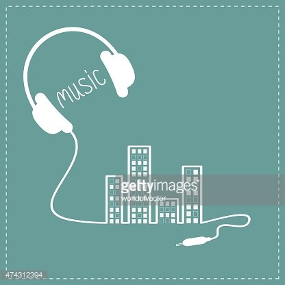 Headphones cord shape equalizer building and windows Music Outline Flat