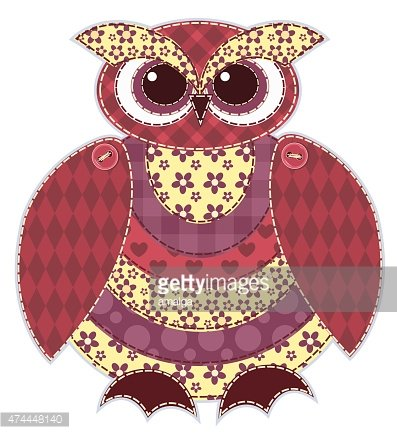 Isolated red patchwork owl