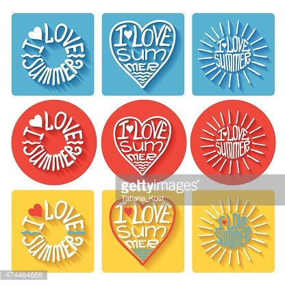 Summer typographic logo,icons set.Template