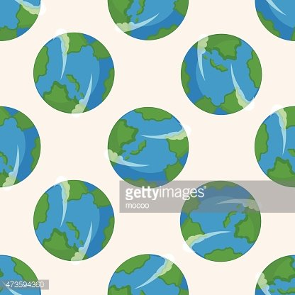 Space Earth Cartoon Seamless Pattern Background Clipart Image