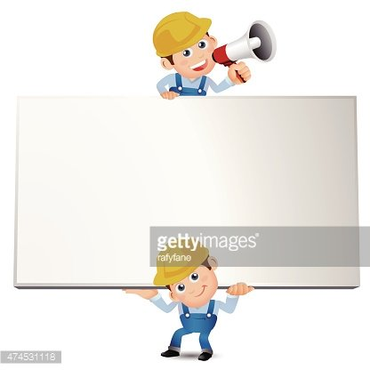 People Set - Profession - Builder with blank board