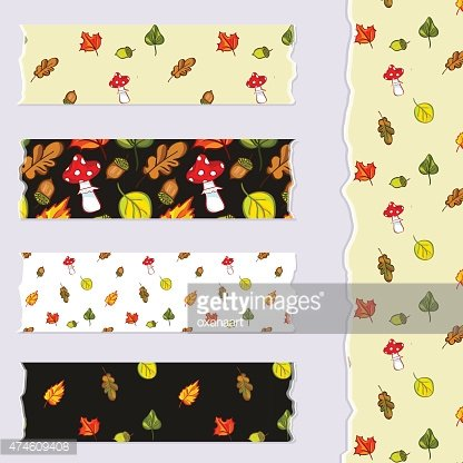 Washi tape scrap booking set, design elements with autumn leaves