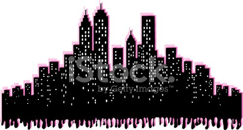 Grunge City Skyline silhouette of New York