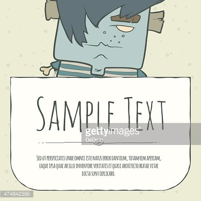 Cute doodle cartoon monster greeteng or invitation card with place