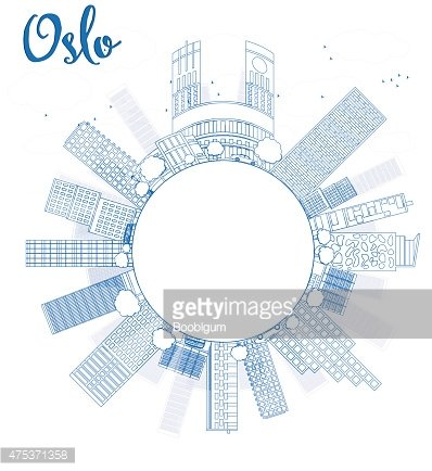 Outline Oslo Skyline with Blue Building and copy space