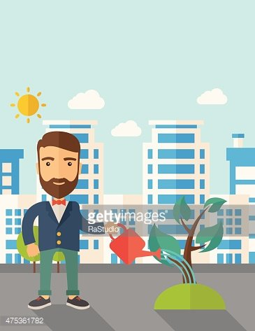 Man Watering Plants With Hose Contributing Into Vector Image