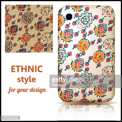 Set of seamless texture and phone cover decorated