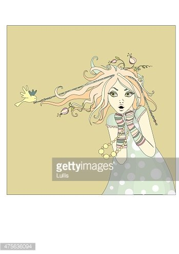 Spring girl with bird and flowers