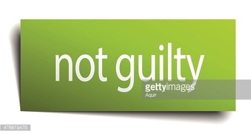 not guilty square paper sign isolated on white