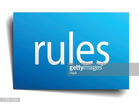 rules blue paper sign on white background