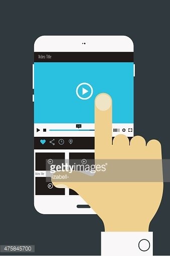 Hand holding mobile device with media player application