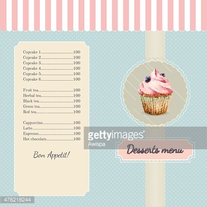 Confectionery Menu Template With Watercolor Cupcake Ilration